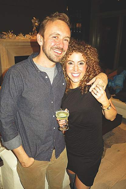 Ben and Natalie Taber at a holiday soiree they hosted at Marble Bar Aspen.