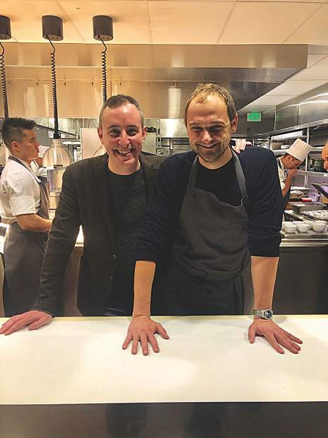 Restaurateur Will Guidara and chef Daniel Humm are all smiles at EMP Winter House.