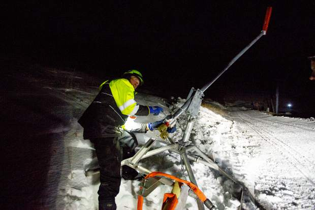Aspen Mountain snowmaker Devin Pool adjusts a snow gun on Nov. 28.