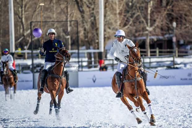 Nacho Figueras makes a play at the St. Regis snow polo tournament at Rio Grande Park in Aspen on Wednesday afternoon.