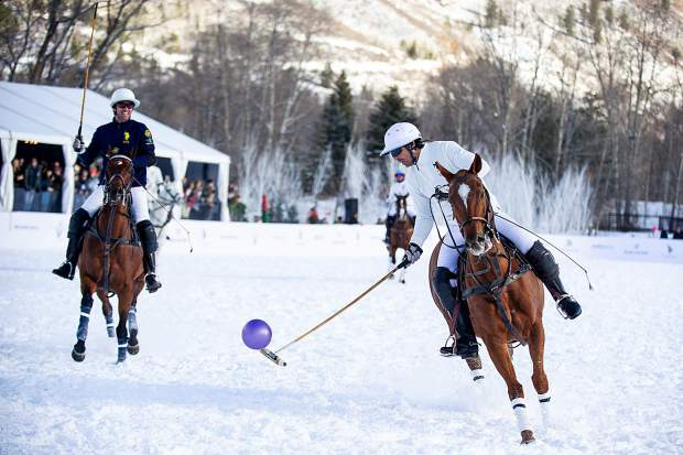 Nacho Figueras makes a play Wednesday afternoon at the St. Regis Snow Polo World Championships at Rio Grande Park in Aspen. The championship game of the sixth annual tournament will be played Thursday.