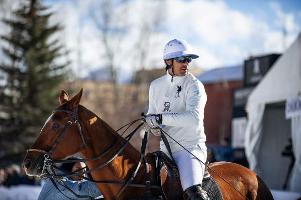 Nacho Figueras at the St. Regis snow polo tournament at Rio Grande Park in Aspen on Wednesday afternoon.