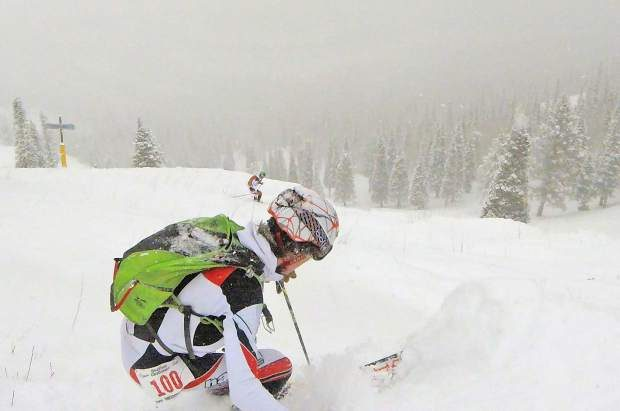Max Bonenberge of Summit County makes his descent during Sunday's Heathen Challenge at Sunlight Mountain Resort.