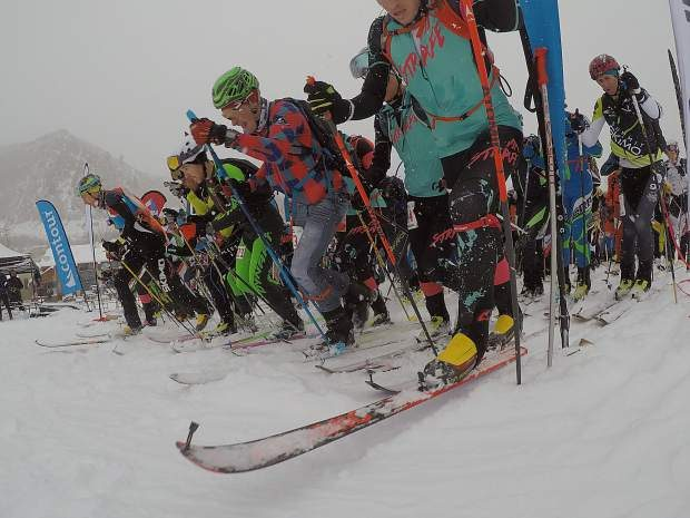 Racers fire off the line for the 11.4-mile ski trek during the annual Heathen Challenge at Sunlight Mountain Resort. The event serves as a US Ski Mountaineering Association Team qualifier.