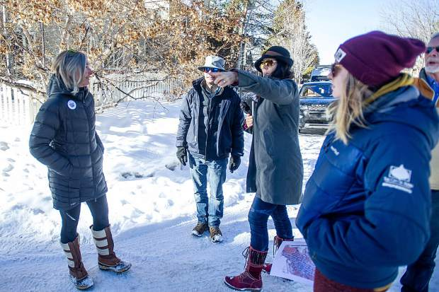 Aspen City Engineer Trish Aragon, center, takes City Council members around Aspen to scout locations of concern for pedestrian sidewalks on Tuesday morning before the council meeting that night. Pictured here on East Hopkins Avenue.