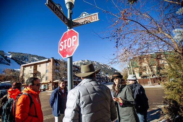 Aspen City Engineer Trish Aragon, right, explains the safety issues at Cooper Ave. and Spring Street to City Council members along with other areas around Aspen to scout locations of concern for pedestrian sidewalks on Tuesday morning before the council meeting that night.