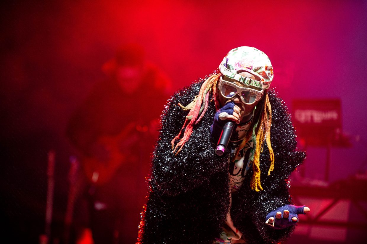 Lil Wayne performing on stage at X Games Aspen in January for the first concert of the weekend.