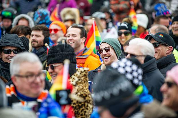 Laughter in the crowd at the base of Aspen Mountain for something MC Sister Helen Holy said for the Gay Ski Week downhill costume parade.