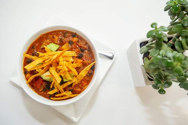 Veggie chili at SO Café atop the Aspen Art Museum.