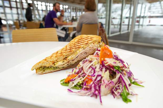 Turkey pesto panini with cabbage slaw at SO Café atop the Aspen Art Museum. Chefs Julia and Allen Domingos, also of Epicure Catering, change the menu of 4 to 6 items every week.