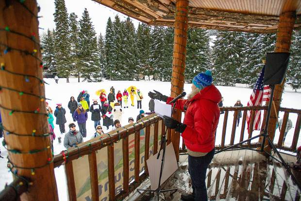 Author Linda Lafferty speaks in Aspen on Saturday for the third annual Women's Ski and March for Decency and Truth. The event was hosted by Pitkin County Democrats and had an assortment of speakers at Paepcke Park including Colorado State Representative Julie McCluskie.