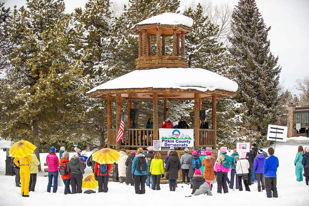 The crowd at Paepcke Park in Aspen on Saturday for the third annual Women's Ski and March for Decency and Truth. The event was hosted by Pitkin County Democrats and had an assortment of speakers including Colorado State Representative Julie McCluskie.