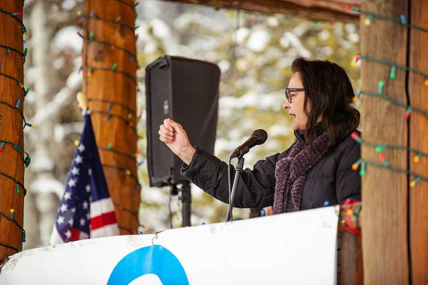 Pitkin County Commissioner and Aspen City Council candidate Rachel Richards speaks in Aspen on Saturday for the third annual Women's Ski and March for Decency and Truth. The event was hosted by Pitkin County Democrats and had an assortment of speakers at Paepcke Park including Colorado State Representative Julie McCluskie.