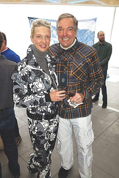 Nicola and Jeff Marcus - straight from the slopes to the apres-ski reception.