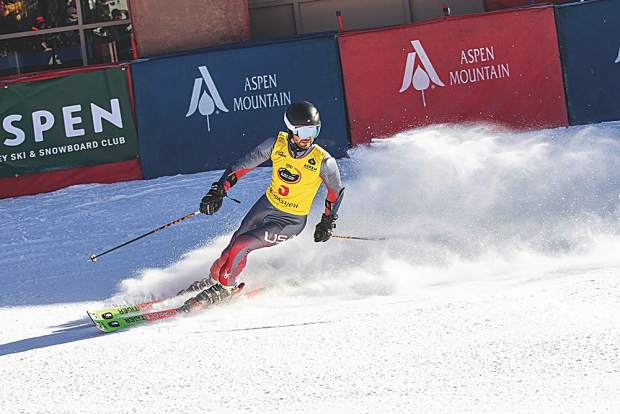 Noah Shore with team Super G! skis into the finish. Matt Power photo.
