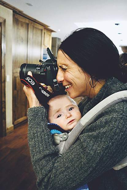 Bring your baby to work day. Aspen Magazine Editor-in-Chief Christine Benedetti with baby Cairo in tow.