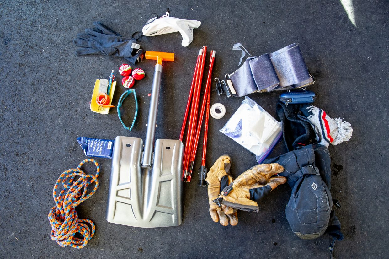The contents of Mike Spayd's ski patrol backpack.