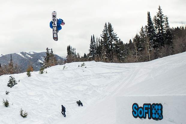 Mark McMorris takes off of the first jump on the X Games' slopestyle course during practice before finals on Saturday at Buttermilk. McMorris took gold with a score of 96.