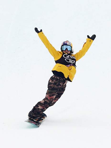 California's Hailey Langland celebrates after her second-place run of the X Games Aspen women's snowboard slopestyle finals on Saturday, Jan. 26, 2019, at Buttermilk Ski Area. (Photo by Austin Colbert/The Aspen Times)
