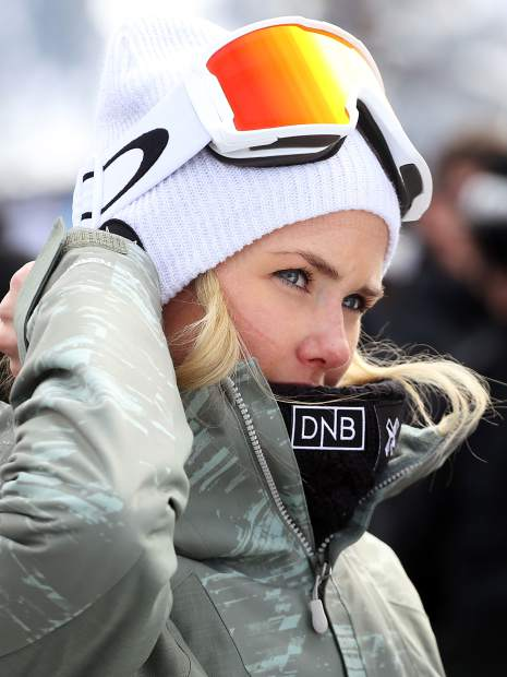 Norway's Silje Norendal hangs out in the finish area of the X Games Aspen women's snowboard slopestyle finals on Saturday, Jan. 26, 2019, at Buttermilk Ski Area. (Photo by Austin Colbert/The Aspen Times)