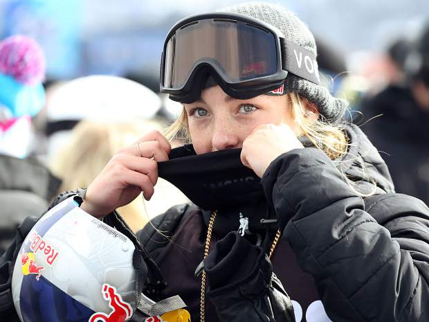 Winner Zoi Sadowski-Synnott of New Zealand relaxes after the X Games Aspen women's snowboard slopestyle finals on Saturday, Jan. 26, 2019, at Buttermilk Ski Area. (Photo by Austin Colbert/The Aspen Times)