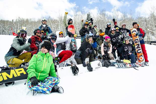 The partner teams for the Special Olympics Unified Snowboarding final pose for a photo on Thursday at Buttermilk after their competition.