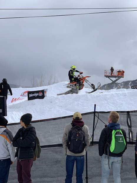 Mike Schultz rides to victory in adaptive snow bikecross Saturday at X Games Aspen. This year marks the debut of adaptive snow bikecross at Winter X Games.