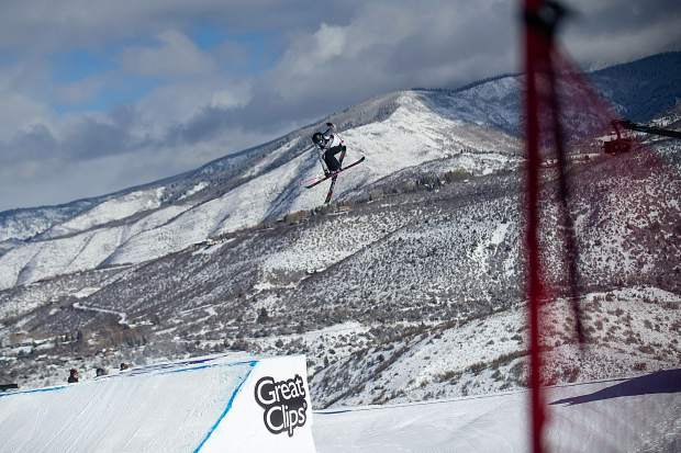 Maggie Voisin hits the second jump on the slopestyle course during the women's freeski slopestyle finals for X Games on Friday. Voisin took the bronze with a score of 87.66.
