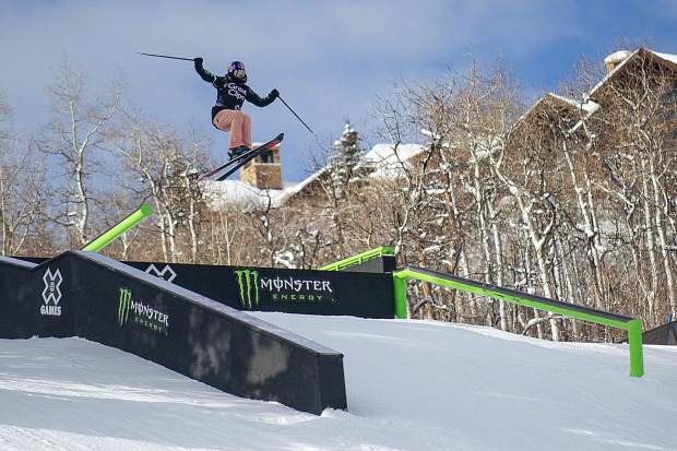 Kelly Sildaru launches off of the Monster Rail features Friday for the women's finals at Buttermilk for X Games. Sildaru of Estonia won her third Aspen X Games slopestyle gold medal on Jan. 25, 2019 with a 99-point run.