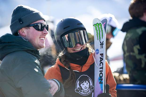 Sarah Hoefflin smiles at the base of the slopestyle course at Buttermilk after taking second place in the women's freeski finals on Friday with a score of 90 from her first run.