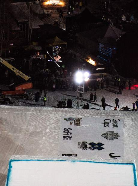 Kelly Sildaru of flies off the big air jump on Friday night at the X Games. She took bronze in the event to go with gold in slopestyle and silver in the superpipe this year in Aspen.