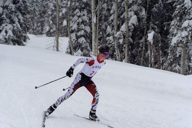 Aspen's JP Viola competes in Friday's Nordic skate race at the 2019 state skiing championships in Durango. The AHS boys won the state championship for the second straight year. (Terrance Siemon/BCI Media)