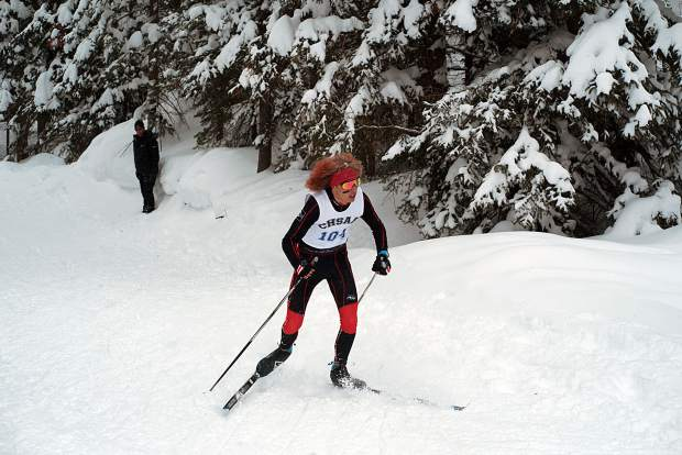 Aspen's Colt Whitley skied to third place Thursday in the state championship Nordic classic race on the 5-kilometer course at the Durango Nordic Center.