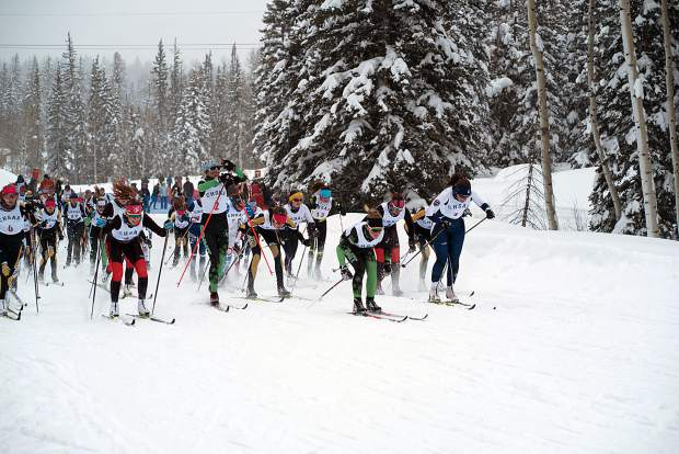 A total of 69 girls started and finished the 5-kilometer Nordic classic race Thursday on the opening day of the CHSAA state skiing championships at the Durango Nordic Center.