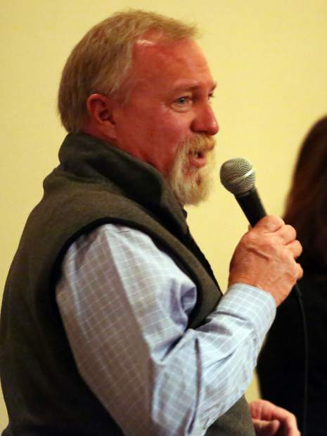 Kevin Hagerty speaks on behalf of Aspen Elks Lodge No. 224 during the Aspen Valley Ski and Snowboard Club hall of fame dinner at the T-Lazy-7 Ranch on Saturday, Feb. 23, 2019. (Photo by Austin Colbert/The Aspen Times).