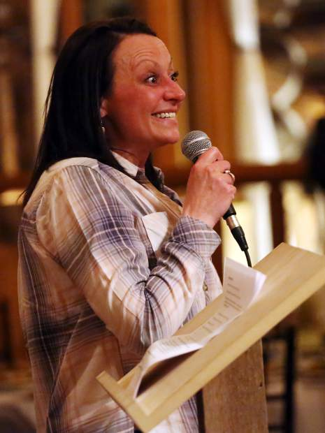 Aspen High School alpine ski coach Jennifer Morandi-Benson talks during the Aspen Valley Ski and Snowboard Club hall of fame dinner at the T-Lazy-7 Ranch on Saturday, Feb. 23, 2019. The AHS ski teams were recognized during the event. (Photo by Austin Colbert/The Aspen Times).
