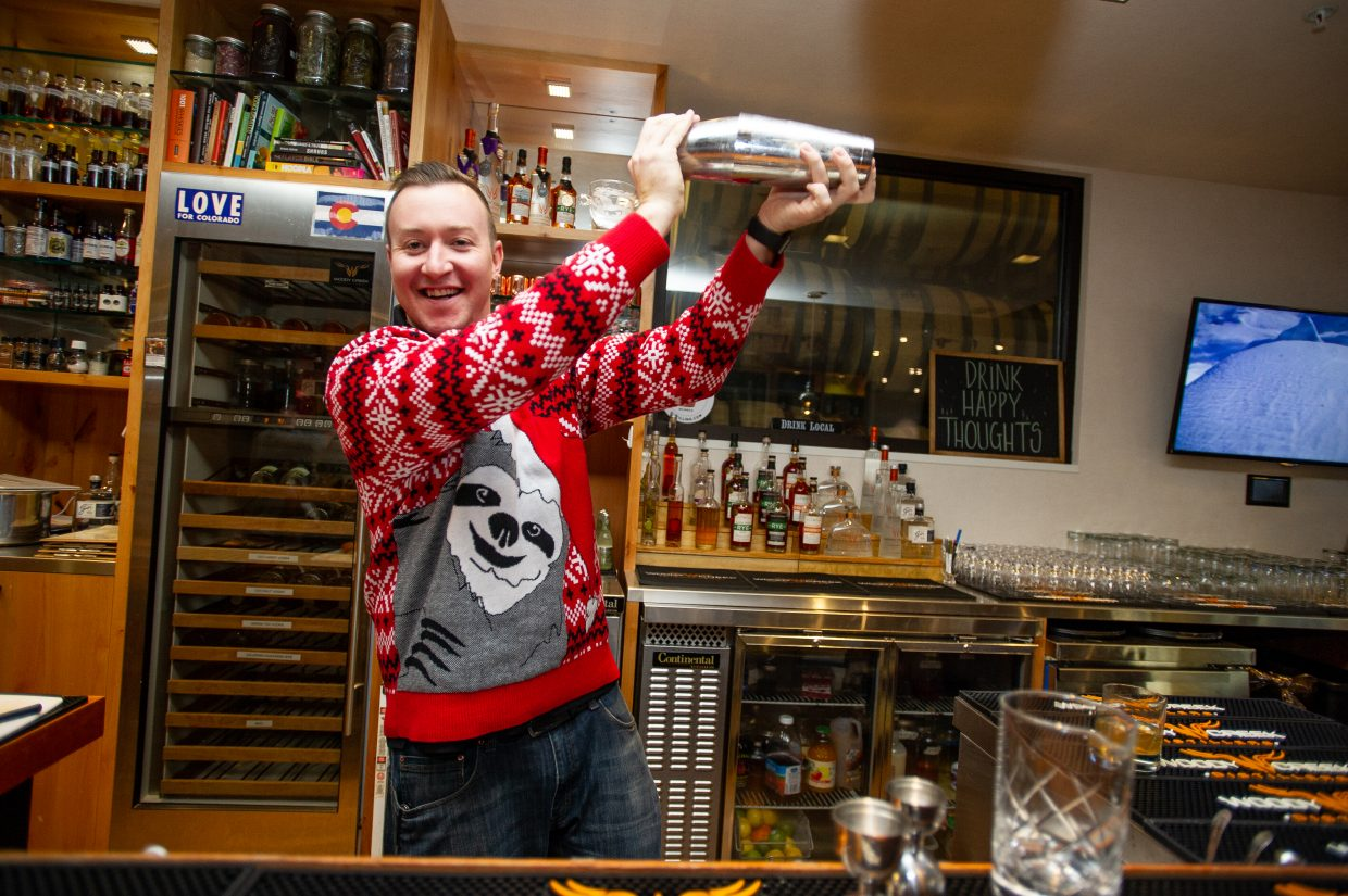 Mixologist Christian Wilhoft at work over the holiday season.
