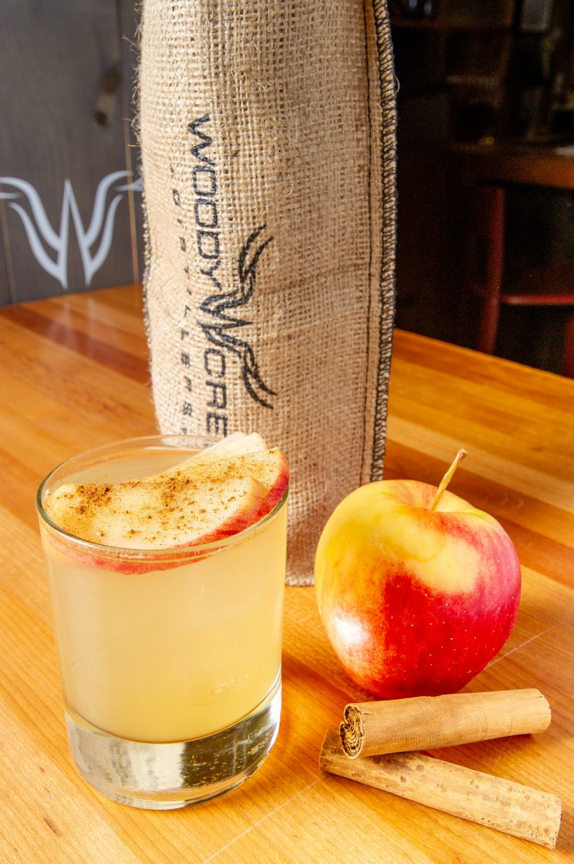 The Orchard, with muddled apple, Woody Creek Vodka, all spice, ginger and lemon juice.