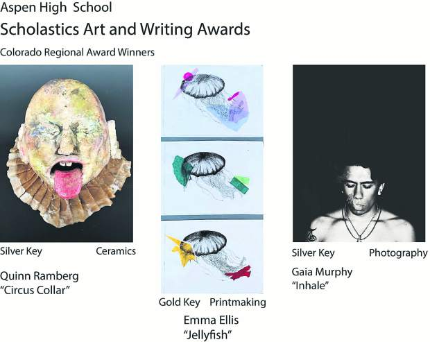 The award-winning artwork from Aspen High School students for the Scholastic Art & Writing competition.