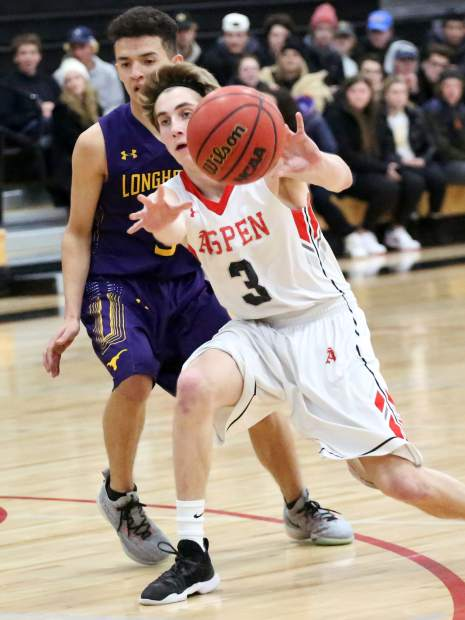 Aspen High School's Noah Hollander, right, passes against Basalt on Saturday, Feb. 16, 2019, inside the AHS gymnasium. (Photo by Austin Colbert/The Aspen Times).