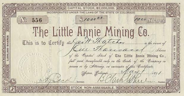 A stock certificate from the Little Annie Mining Co. signed by B. Clark Wheeler is among the mining-era ephemera on display at Valley Fine Art's new exhibition.