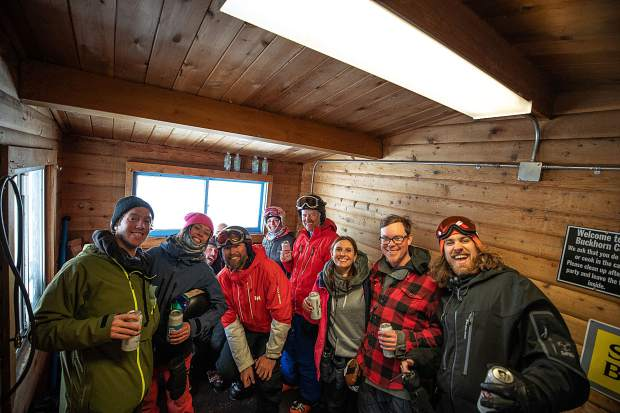 A group staying warm inside the Buckhorn Cabin on Aspen Mountain for the second annual Drop-In party on Feb. 9.