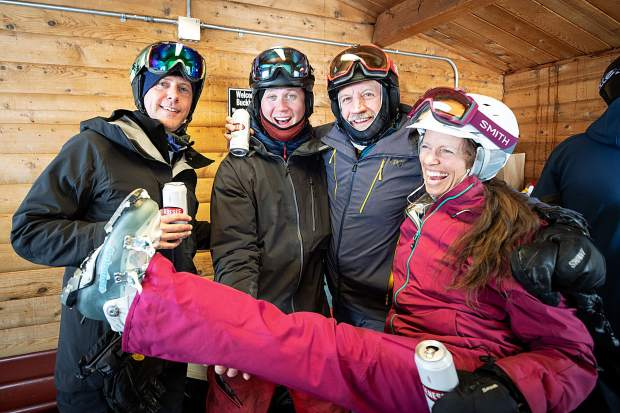 Left to right, Todd Ramsey, Travis Andrews, Joel Hocknell and Kerry Kleisner at the second annual Aspen Times' Drop-In party at Buckhorn Cabin on Feb. 9.