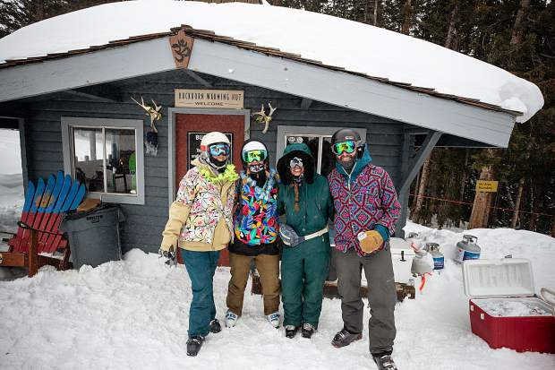 Left to right, Sarah Lacoste, Megan Reynoso, Anna Reynoso, Steve Fragleasso at the second annual Aspen Times' Drop-In party at Buckhorn Cabin on Feb. 9.