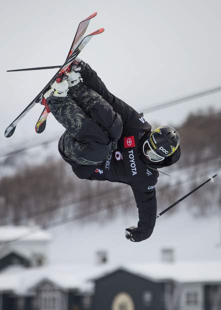 Crested Butte's Aaron Blunck competes in the FIS World Championship's freeski halfpipe finals at Park City Mountain Resort on Saturday, February 9, 2019. Blunck placed first among the men, earning a gold medal. (Tanzi Propst/Park Record)