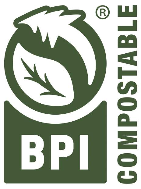 This photo provided by the Biodegradable Products Institute shows the official, recently updated BPI Certification Logo which tells consumers the product or package has been independently tested and verified and is approved for composting. Plant-based bioplastics are gradually replacing traditional plastics for many products, including trash bags, picnic tableware and lunch trays. Critics warn they're far from perfect. But compostables are being embraced by many vendors and consumers as an eco-friendly way forward.