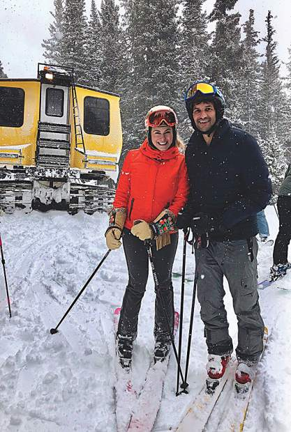 Alissa Grad and Michael Kestenbaum on a snowcat powder tour.