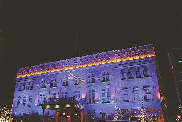Hotel Jerome awash in blue for the annual Ascendigo Blue Aspen.