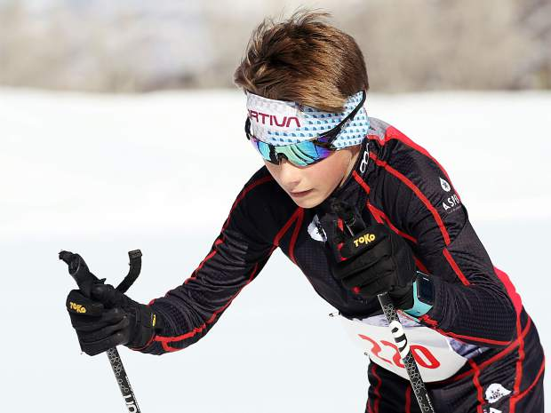 Carbondale's Corbin Carpenter of the Aspen Valley Ski and Snowboard Club competes in the Owl Creek Chase cross-country ski race on Sunday, Feb. 10, 2019, at the Aspen Nordic Center. (Photo by Austin Colbert/The Aspen Times).