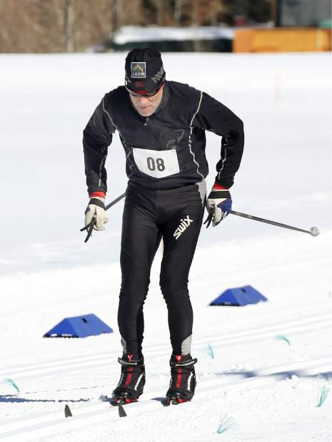 A racer competes in the Owl Creek Chase cross-country ski race on Sunday, Feb. 10, 2019, at the Aspen Nordic Center. (Photo by Austin Colbert/The Aspen Times).